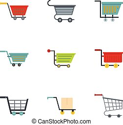 Shoping cart and basket icon set, flat style - Shoping cart...