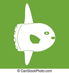 Small fish icon green - Small fish icon white isolated on...