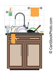 A mountain of dirty unwashed dishes in the sink in the kitchen. Plates, saucepan and frying pan. Tiled wall and kitchen furniture.