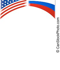 American and Russian flags frame
