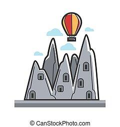 Balloon in mountains - Vector illustration of aerostat...