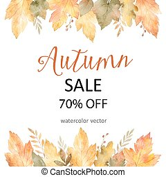 Watercolor autumn banner sales 75%. isolated on white...