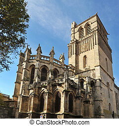Beziers cathedral - Clock tower and gothic architecture of...
