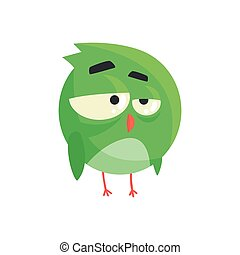 Cute little green thoughtful chick bird standing colorful character vector Illustration