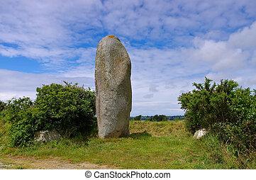 Plouguin Menhir de Lann al Louarn in Finistere, France