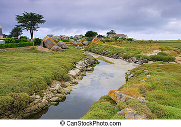 Kerlouan la Digue in Finistere in Brittany, France