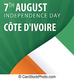 Independence day of Cote Divoire. Flag and Patriotic Banner....