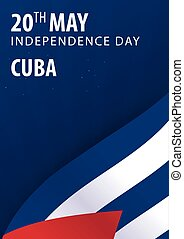 Independence day of Cuba. Flag and Patriotic Banner. -...