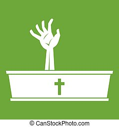Zombie hand coming out of his coffin icon green