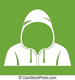 Hood icon green - Hood icon white isolated on green...