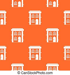 Two-storey residential house pattern seamless