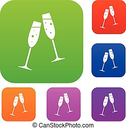 Two glasses of champagne set collection - Two glasses of...