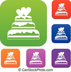 Wedding cake set collection - Wedding cake in simple style...