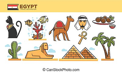 Egypt travel destination poster with famous country symbols...