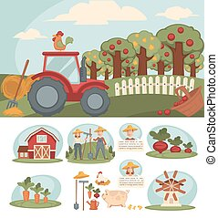Farm with big orchard, red tractor and small haystacks -...