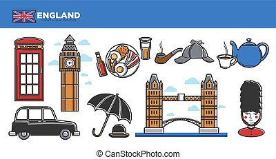 England travel destination promotional poster with national...