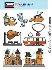 Czech Republic travel destination banner with country...