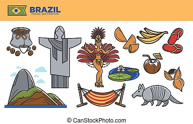 Brazil travel destination promotional poster with country...