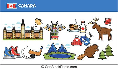 Canada travel destination advertisement with country symbols...