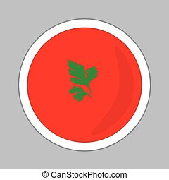 tomato soup with parsley leaves- vector illustration
