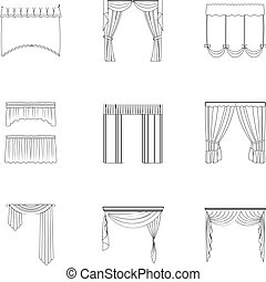 Fabric, textiles, interior and other curtains elements. Curtains set collection icons in outline style vector symbol stock illustration web.