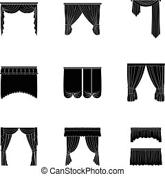 Fabric, textiles, interior and other curtains elements. Curtains set collection icons in black style vector symbol stock illustration web.