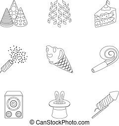 Champagne, firecrackers, cake items for the holiday.Party And Parties set collection icons in outline style vector symbol stock illustration web.