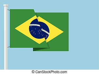 Brazil flag with copyspace. Vector illustration
