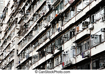Old apartments in Hong Kong .