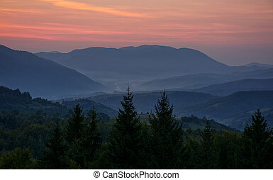 reddish sky at dawn in mountains - spectacular landscape...