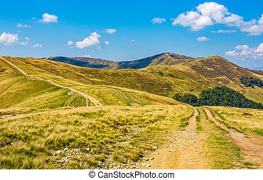 road through hilly ridge with peaks - dirt road through...