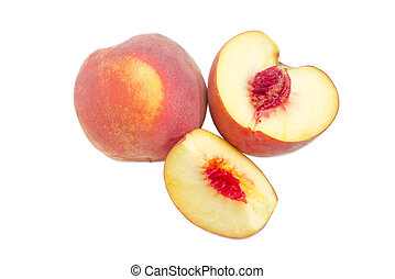 Whole and sliced peach on a white background - One whole and...