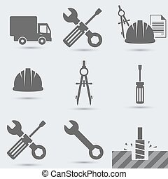 Repair, build instrument. Hammer, car, screw, helmet, wrench and other, hand tool
