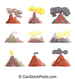 Volcano eruption set, volcanic magma blowing up, lava...