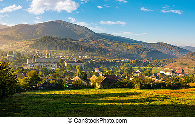 beautiful countryside in transcarpathia at sunrise -...