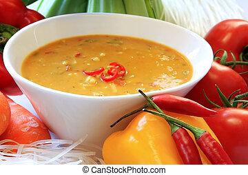Laksa noodle soup, with ingredients. Delicious Thai cuisine....