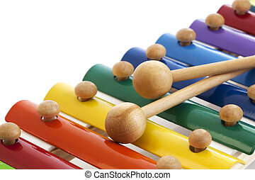 Xylophone - Toy xylophone over white background. Colorful...