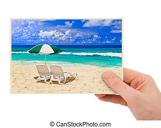 Beach photography in hand my photo isolated on white...