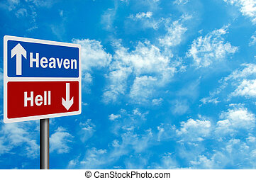Photo realistic ' heaven / hell' sign, with space for your...