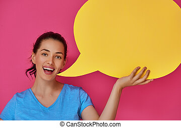 woman with cartoon speech - Beautiful young woman with...
