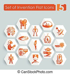 Set of invention icons - Set of invention flat icons for Web...