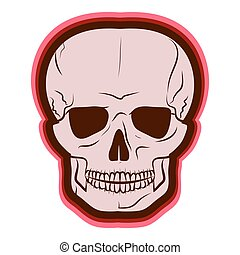 Red Skull. vector illustration. Drawing by hand. - Red...