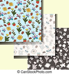Set of summer patterns with flowers and insects. vector illustration. Hand drawing.