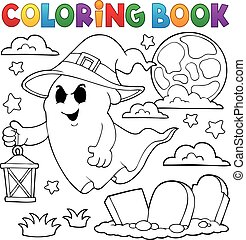 Coloring book ghost with hat and lantern - eps10 vector...