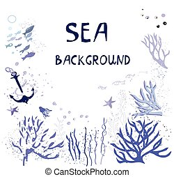 Sea background for the card with fishes, corals