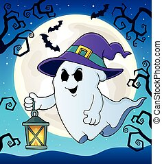 Ghost with hat and lantern theme 2