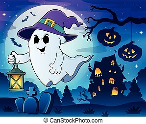 Ghost with hat and lantern theme 3