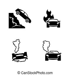 Road accident. Simple Related Vector Icons Set for Video,...