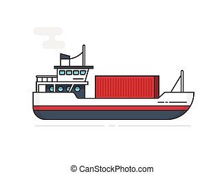 Shipping container via ship vector illustration line outline, flat cartoon vessel or boat transporting cargo container isolated on white, idea of logistics, freight transportation