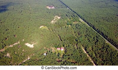 Countryside view from above - Aerial shot of coniferous...